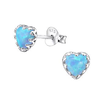Heart - 925 Sterling Silver Opal and Semi Precious Ear Studs - W23620X