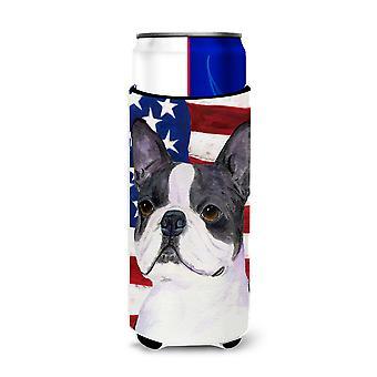Bandera Americana de EE.UU. con aisladores de bebidas ultra Boston Terrier para latas delgadas SS