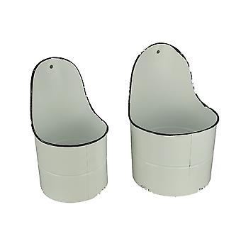 White and Black Enamel Metal Round Wall Pocket Planters 2 Piece Set