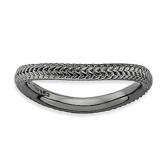 2.25mm 925 Sterling Silver Textured Patterned Ruthenium plating Stackable Expressions Polished Black plate Wave Ring Jew