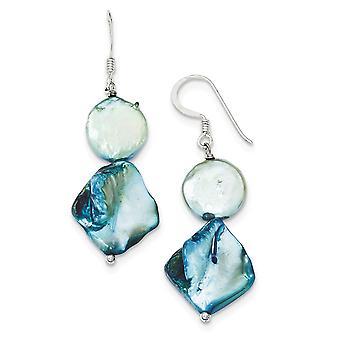 925 Sterling Silver Shepherd crochet Bleu Simulé Mère de Perle et D'eau douce Culture Pearl Boucles d'oreilles Bijoux Cadeaux fo