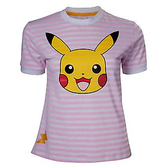 Pokemon T Shirt Pikachu Striped Logo new Official Womens Skinny Fit Pink