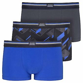 Jockey Cotton Stretch 3-Pack Short Trunks, Blue Iolite, Small