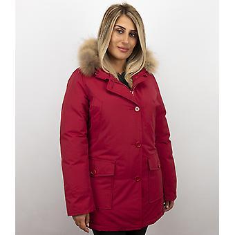 Fur coats - Winter coat Wooly Lang - Fur collar - Red