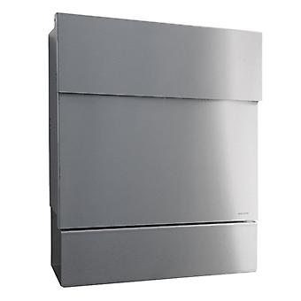 Letterman 5 RADIUS design letter box stainless steel with newspaper compartment, hidden Castle, stainless steel mailbox with newspaper role
