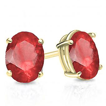 Dazzlingrock Collection 14K 7x5 mm each Oval Cut Ruby Ladies Solitaire Stud Earrings, Yellow Gold