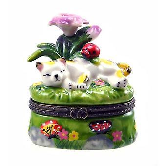 紫の花の下で居眠り眠い猫ヒンジ小物入れ