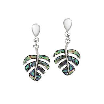 Eternal Collection Botanic Paua Shell Leaf Silver Tone Drop Clip On Earrings