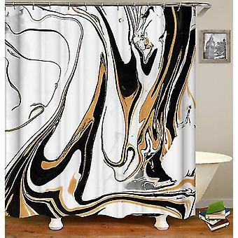 Golden Black Marble Shower Curtain