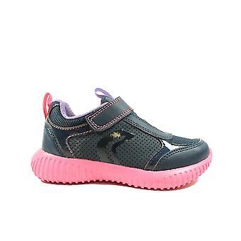 Geox Waviness J946DC Navy/Fuchsia Pink Girls Rip Tape/Bungee Lace Trainers