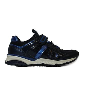 Geox Bernie J7411D Navy Girls Bungee Lace/Rip Tape Trainers
