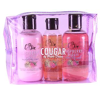 Bath Gift Set Body Wash, Cream Lotion, Shimmer Oil Set in Raspberry Daiquiri