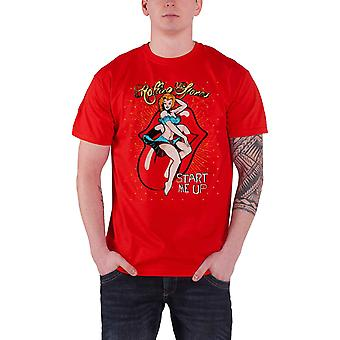 The Rolling Stones T Shirt Start Me Up Band Logo Classic Official Mens New Red