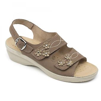 Padders Bluebell Ladies Couro Largo (e Fit) Sandálias Taupe