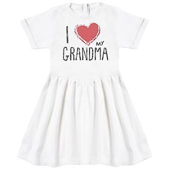 Me encanta mi abuela corazón rojo bebé vestido