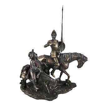 Pewter Finish Don Quichote en Sancho Panza standbeeld