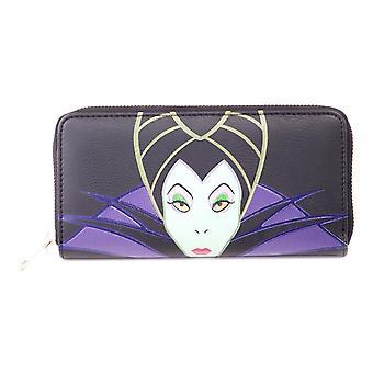 Disney Maléfique Caractère Face Zip-around Portefeuille Purse Femme Noir / Purple