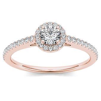 Igi certifierad 14k steg guld 0,50 ct naturlig diamant halo förlovningsring