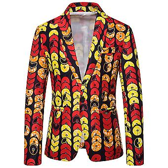 Allthemen Men's Casual One-button National Retro Printed Circle Blazer