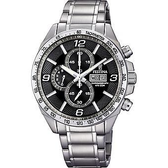 Festina Chrono-F6861-4 zeitlose Uhr - Armbanduhr Chronograph Stahl Mann