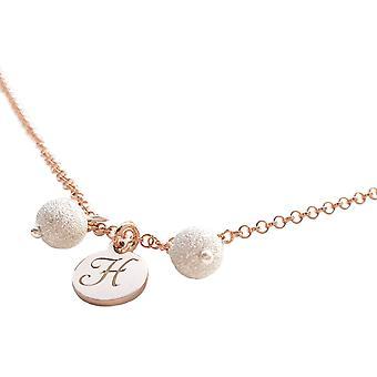 Ah! Collana iniziale di gioielli. Genuine Sterling Silver & 18K Rose Gold Vermeil. Pendant accompagnato da due bellissime perle di polvere di stelle.