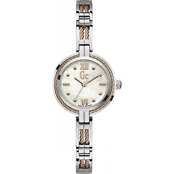 Watch GC Y39003L1 - Cable jewel box steel grey steel grey and Dor Rose woman mother-of-Pearl Dial Bracelet