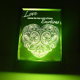 Dotty følelser hjertet & tilbud farge endre RC LED speil lett ramme