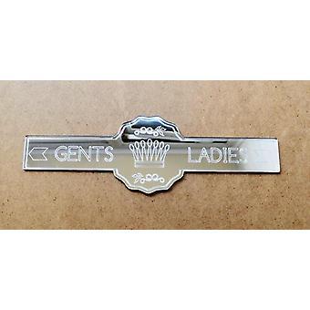 Ladies and Gents Direction Crown & Arrows Toilet Door Sign