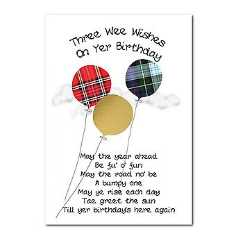 Embroidered Originals Tartan Balloons Birthday Card