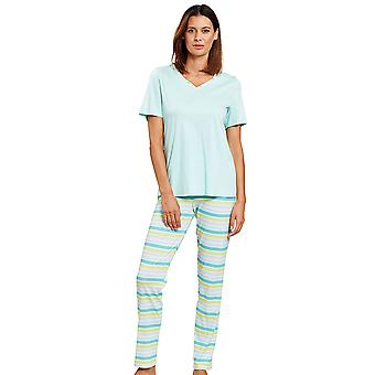 Rösch 1203080-11576 Dámské a pos;s Smart Casual Ringlet Pestrobarevné pruhované pyžamo Set