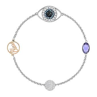 Swarovski Remix Mezclado Plateado y Multi-colorcristales Eye Bracelet