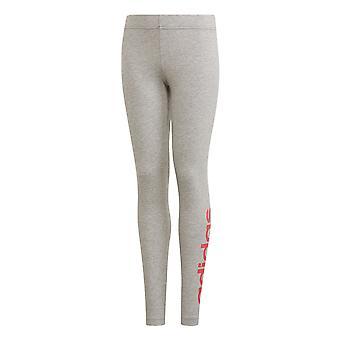 adidas Essentials Linear Girls Kids Sports Legging Tight Pant Grey