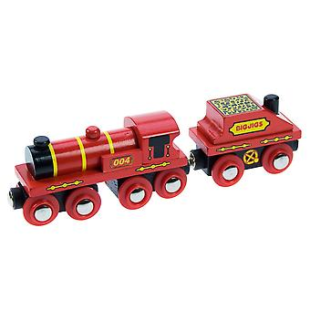 Bigjigs Wooden Railway Red Engine And Coal Tender