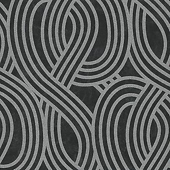 Carat Geometric Glitter Wallpaper Black and Silver P+S 13345-30