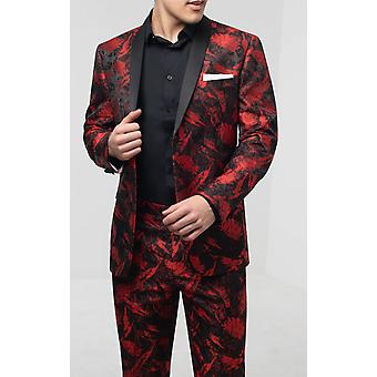 Skopes Mens Red Jacquard 2 Piece Tuxedo Tailored Fit Contrast Shawl Lapel