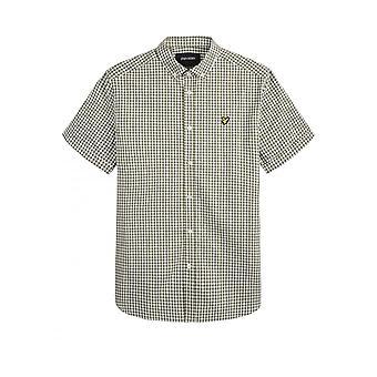 Lyle & Scott Manga Curta Gingham Camisa Lichen Verde/Branco