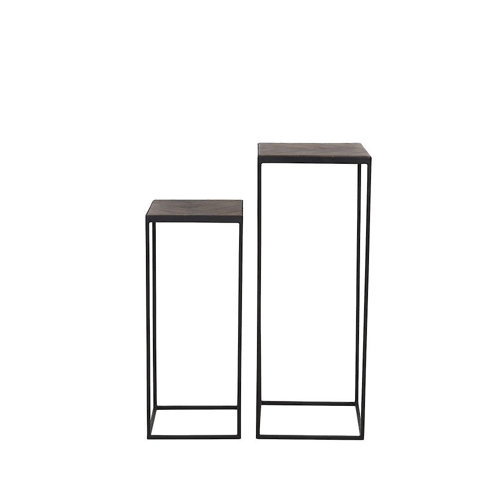 Light & Living Side Table Set Of 2 33x33x80 And 38x38x100cm Chisa Wood Brown-Black