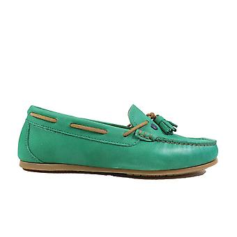 Dubarry Jamaica Green Leather Womens Slip On Moccasin Shoes