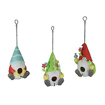 Set of 3 Adorable Scandinavian Nisse Garden Gnome Birdhouses