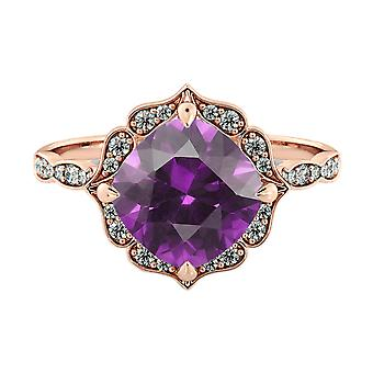 Amethyst 1.25 ctw Ring with Diamonds 14K Rose Gold Flower Leaves Halo