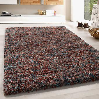 High Flor Shaggy Rug LongFlor Living Room Rug Colorful Blue Terra Beige Melted