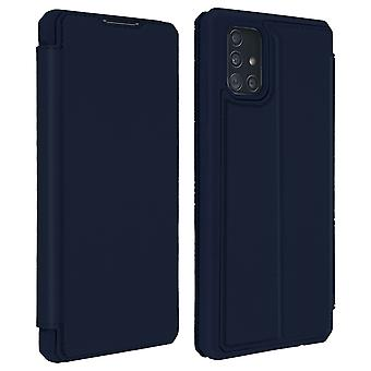 Genuine Leather Stand Folio Case with Card Slots for Galaxy A51-Dux Ducis, Blue