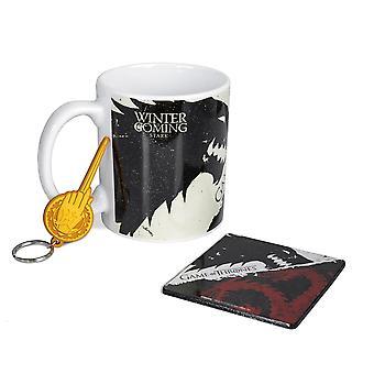 Game of Thrones Erős és Targaryen Mug, Hullámvasút és kulcstartó ajándékszett