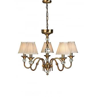 5-light Pendant Lamp Polina, Antique Brass And Crystal, Beige Lampshades