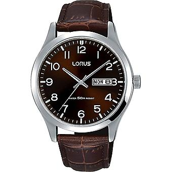 Lorus RXN41DX-9 Esfera marrón con reloj de pulsera de día y fecha