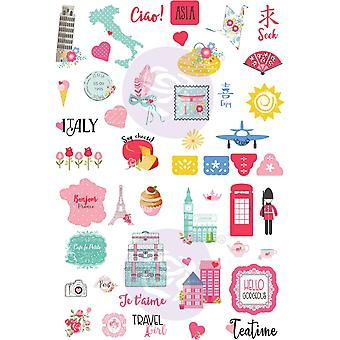 Prima التسويق السفر فتاة ملصقات ورقة