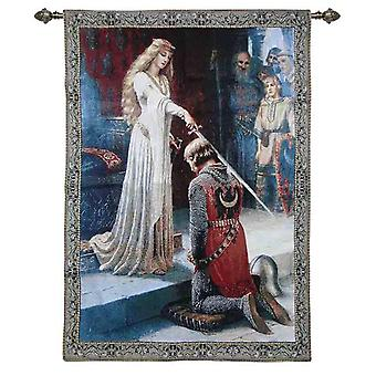Edmund leighton - the accolade wall hanging by signare tapestry / 100cm x 139cm / wh-eb-ac