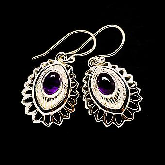 "Garnet Earrings 1 1/4"" (925 Sterling Silver)  - Handmade Boho Vintage Jewelry EARR404670"