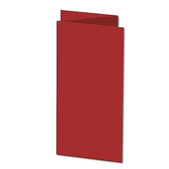 Chili Rød. 210mm x 297mm. DL (Tri-Fold). 235gsm brettet kort tomt.