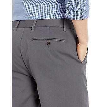 Essentials Herre's Rettsittende Rynkebestandig Flat-Front Chino Bukse, Grå, 34W x 34L